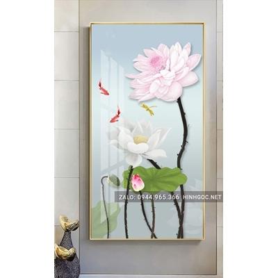 Tranh treo tường, tranh cá chép và hoa sen -NCS51