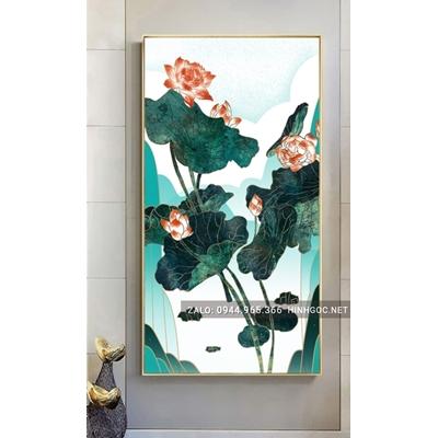 Tranh treo tường, tranh cá chép và hoa sen-NCS58