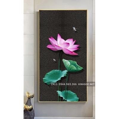 Tranh treo tường, tranh hoa sen và con chuồn chuồn-NCS60