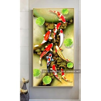 Tranh treo tường, cá chép và hoa sen, đá nghệ thuật-NCS64