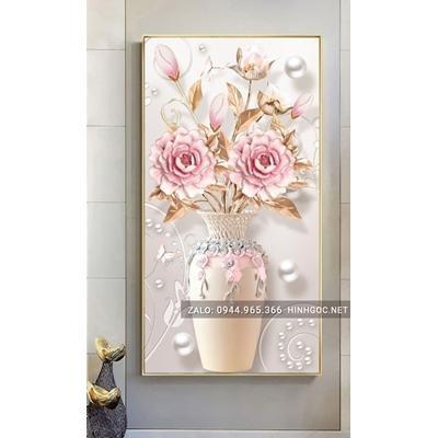 Tranh treo tường, tranh bình hoa nở đẹp-NCS65