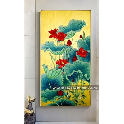 Tranh treo tường, tranh hoa sen đỏ-NCS76