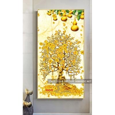 Tranh treo tường, tranh tết, cây lộc vàng, quả bầu tiên-NCS77