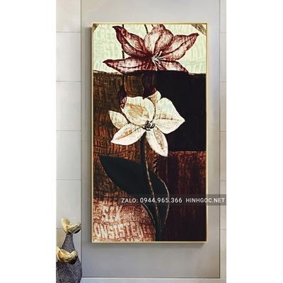 Tranh treo tường, cành hoa sen nở nghệ thuật-NCS79