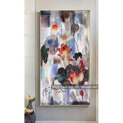 Tranh treo tường, cành hoa sen nở nghệ thuật-NCS80