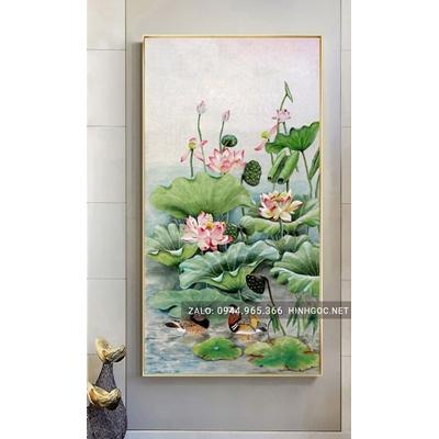 Tranh treo tường, cành hoa sen nở nghệ thuật-NCS81