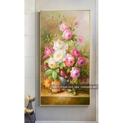 Tranh treo tường, tranh lọ hoa nở đẹp-NCS89