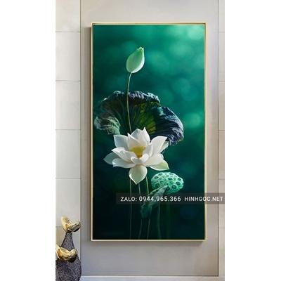 Tranh treo tường, tranh hoa sen trắng-NCS90