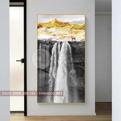 Tranh treo tường, sơn thủy hữu tình thác nước và hươu-NDI196