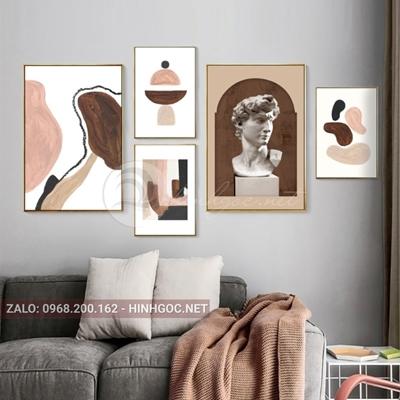 Tranh bộ nhiều bức hình trừu tường và tượng nam-NDI25