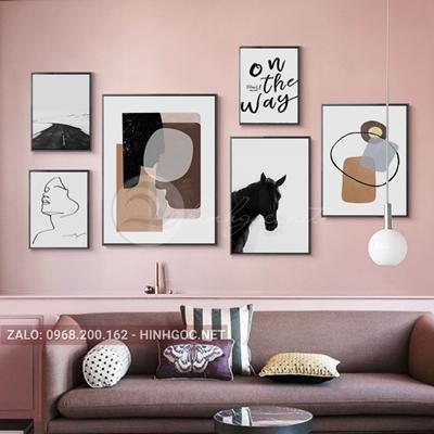 Tranh bộ nhiều bức, con ngựa, mặt người và hình trừu tượng-NDI27