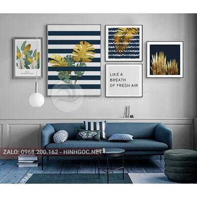 Tranh treo tường, bộ nhiều bức lá rùa vàng, xanh-NDI289