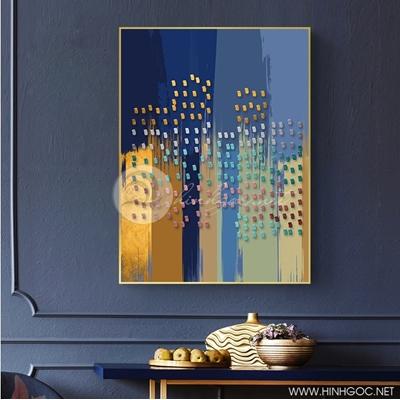 Tranh trừu tượng chấm xanh vàng - NEN104