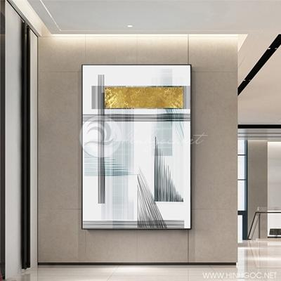 Tranh trừu tượng sọc vàng đen - NEN112