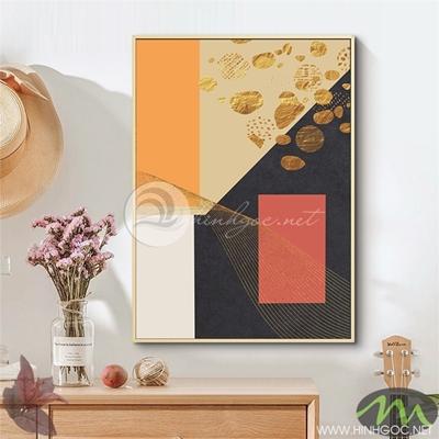 Tranh trừu tượng vàng đỏ - NEN114