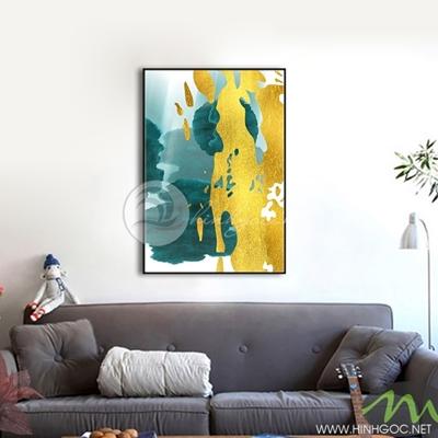 Tranh trừu tượng sơn vàng xanh - NEN116