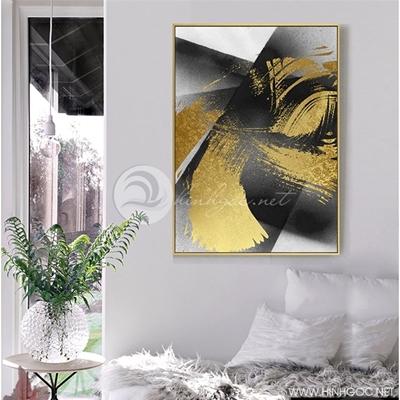 Tranh trừu tượng vàng đen - NEN78