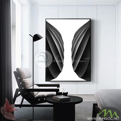 Tranh trừu tượng trắng đen - NEN94