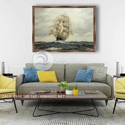 Tranh thuận buồm xuôi gió, cánh buồm trắng trên biển khơi-NTS-12