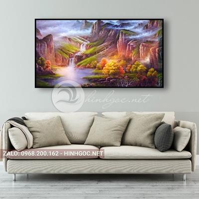 Tranh phong cảnh, sơn thủy hữu tình, thác nước đẹp-NTS-133