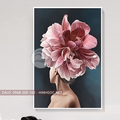 Tranh thời trang, chân dung cô gái cài hoa hồng-NTS-169