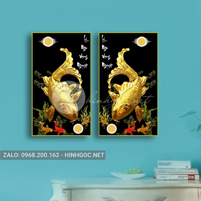 Tranh song ngư quần hội, đôi cá chép vàng vui vẻ-NTS-181