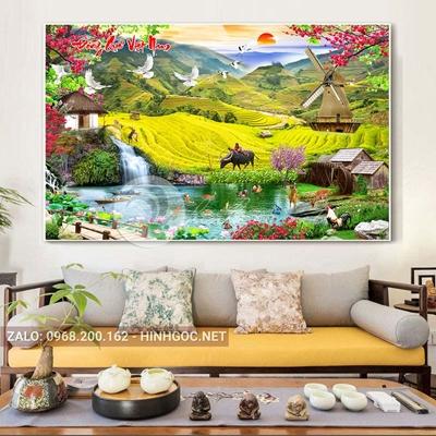 Tranh sơn thủy hữu tình, làng quê Việt Nam-NTS-185