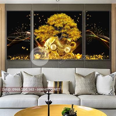 Tranh tết, bộ 3 bức tê giác vàng, dải vân, cây nghệ thuật-NTS-23