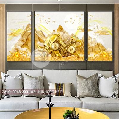 Tranh tết, bộ 3 bức tê giác vàng, dãy núi vàng nghệ thuật-NTS-24