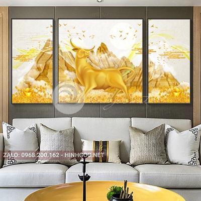 Tranh tết, bộ 3 bức tê giác vàng, dãy núi vàng nghệ thuật-NTS-25