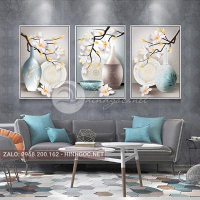 Tranh trừu tượng, bộ 3 bức, bình hoa nở đẹp-NTS-70