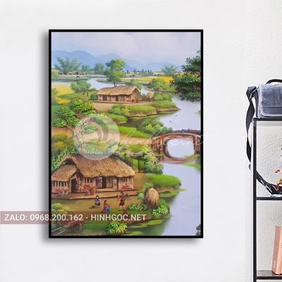 Tranh phong cảnh làng quê, ngôi nhà bên dòng sông thơ mộng-NTS-80