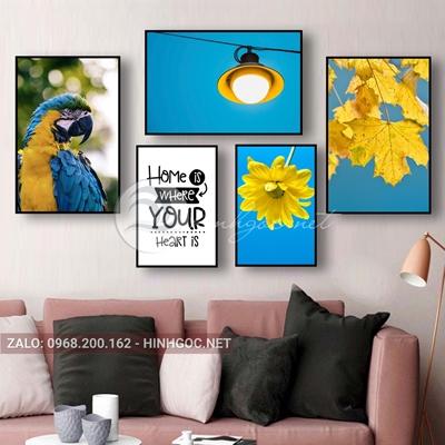 Tranh treo tường, bộ 5 bức con chim vẹt và hoa-NTS-89
