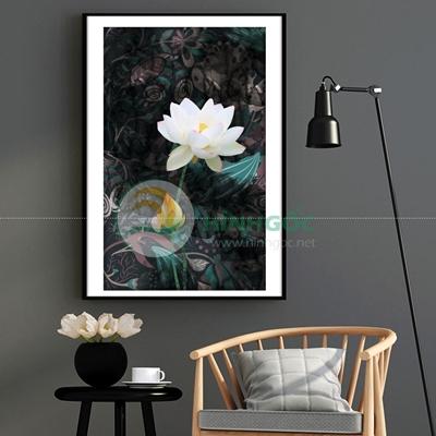 Tranh hoa sen trắng nở-PBE-10