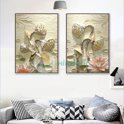 Tranh bộ 2 bức, tranh hoa sen 3D-PBE-13