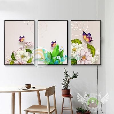 Tranh bộ 3 bức, tranh hoa mẫu đơn và bướm-PBE-14