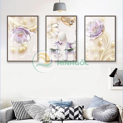 Tranh bộ 3 bức, tranh hoa sen và hươu vui vẻ-PBE-16
