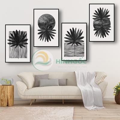 Tranh bộ 4 bức, những bông hoa đá nghệ thuật-PBE-74