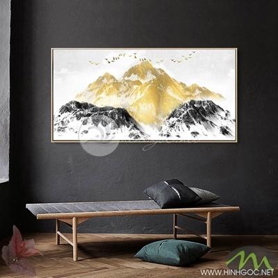 Tranh núi đá vàng đen - PEN25