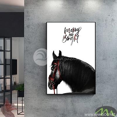 Tranh ngựa đen nền trắng -  PEN54