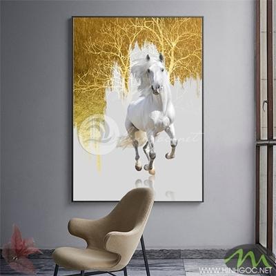 Tranh ngựa trắng và rừng cây vàng - PEN57