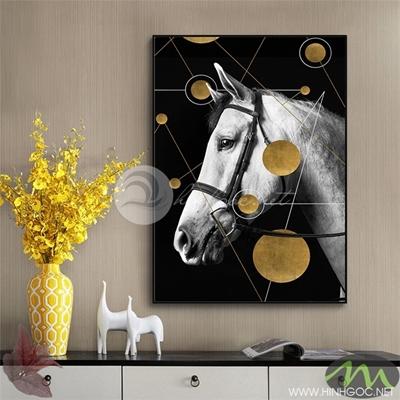 Tranh ngựa trắng và vòng tròn vàng - PEN59