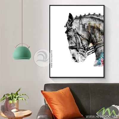 Tranh ngựa đen và thành phố - PEN60