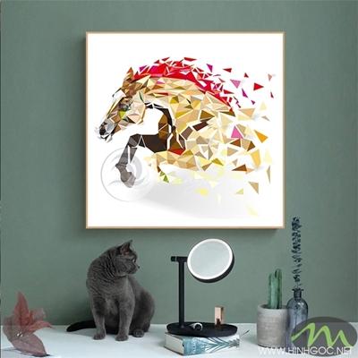 Tranh ngựa vàng đỏ - PEN63