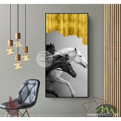 Tranh cặp ngựa đen trắng - PEN64