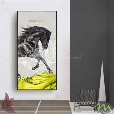 Tranh ngựa đen phi - PEN65