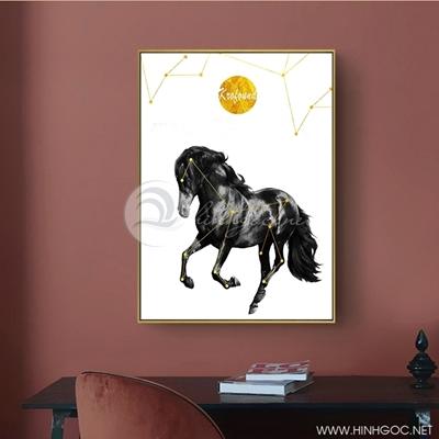 Tranh ngựa đen phi nước đại - PEN69