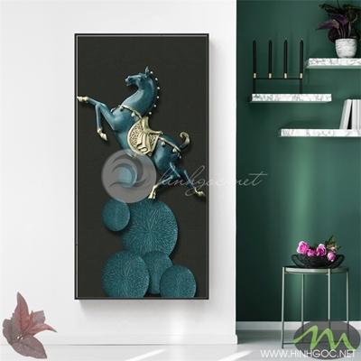 Tranh ngựa xanh nền đen - PEN73
