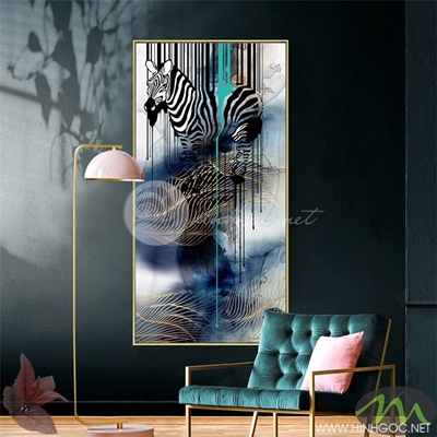 Tranh ngựa vằn và màu xanh -PEN85