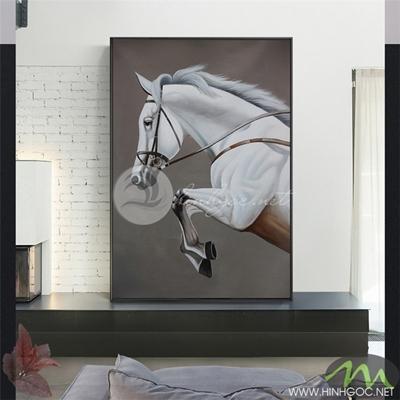 Tranh ngựa trắng phi nước đại - PEN87